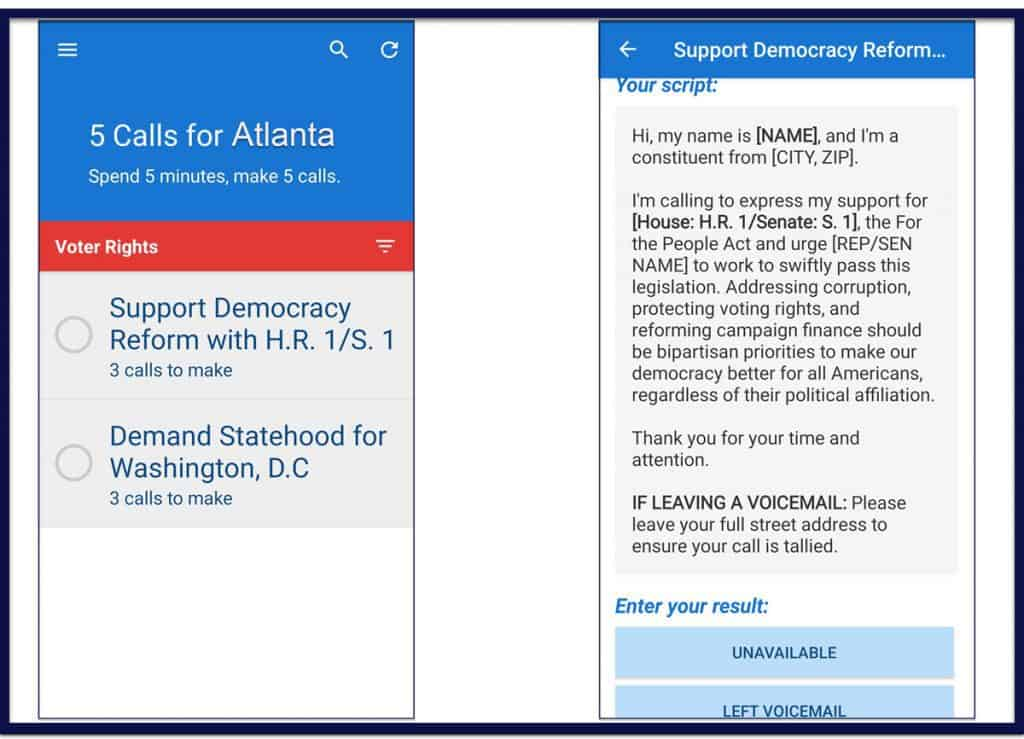 Screenshots of the 5 Calls phone app. A sample of the Voter Rights Issues screen is on the left. A sample of the related Script is on the right.