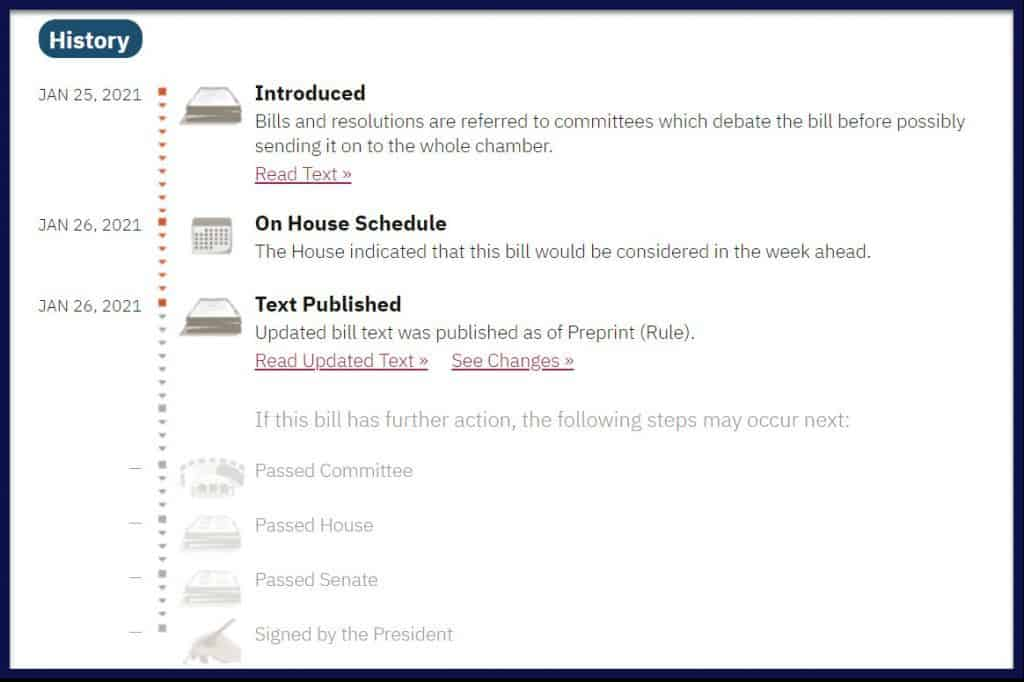A screenshot of the History section in the Overview tab of a bill on GovTrack.us.