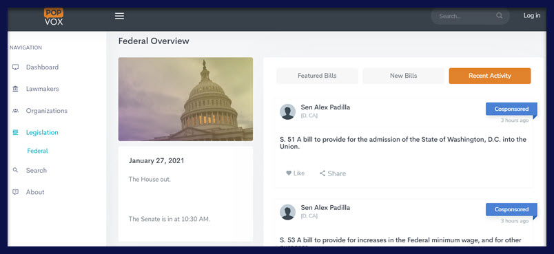A screenshot of POPVOX's Recent Activity tab on the Federal Overview screen.